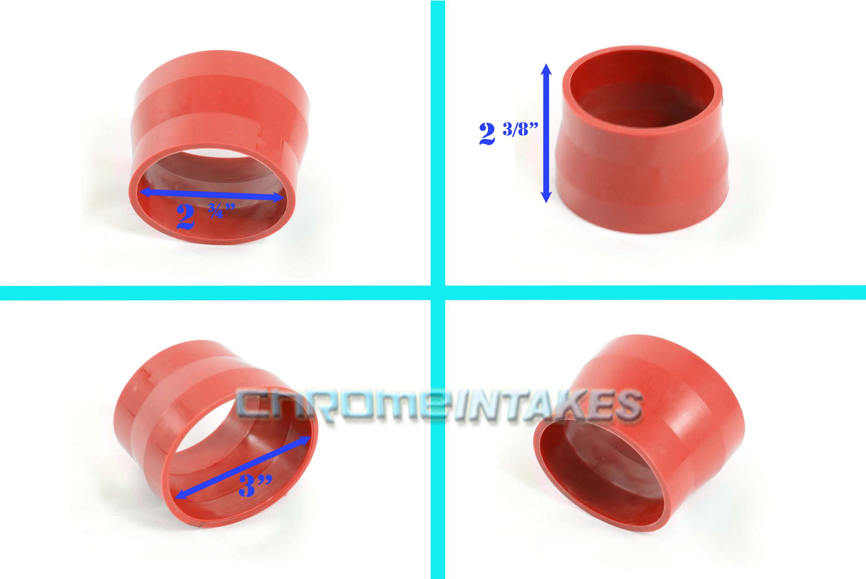 """BLUE 3/""""-3/"""" AIR INTAKE//PIPING RUBBER COUPLER FOR FORD 01-12"""
