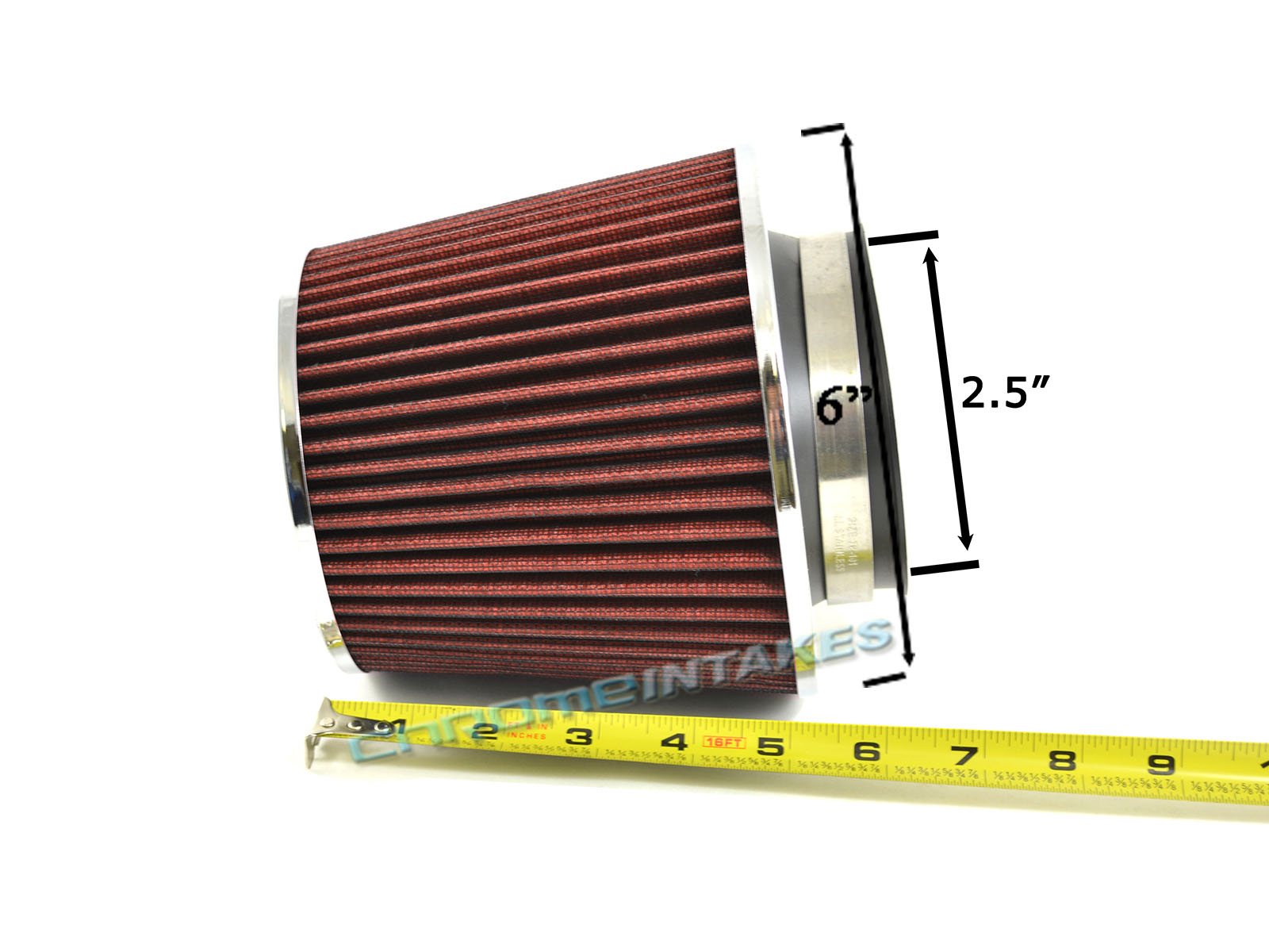 """RED UNIVERSAL 2.5/"""" 63.5mm FLANGE AIR FILTER FOR INFINITI SHORT//COLD AIR INTAKE"""