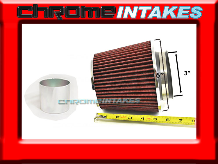 """RED UNIVERSAL 3/"""" 76mm CHF AIR FILTER FOR DODGE SHORT//COLD AIR INTAKE"""