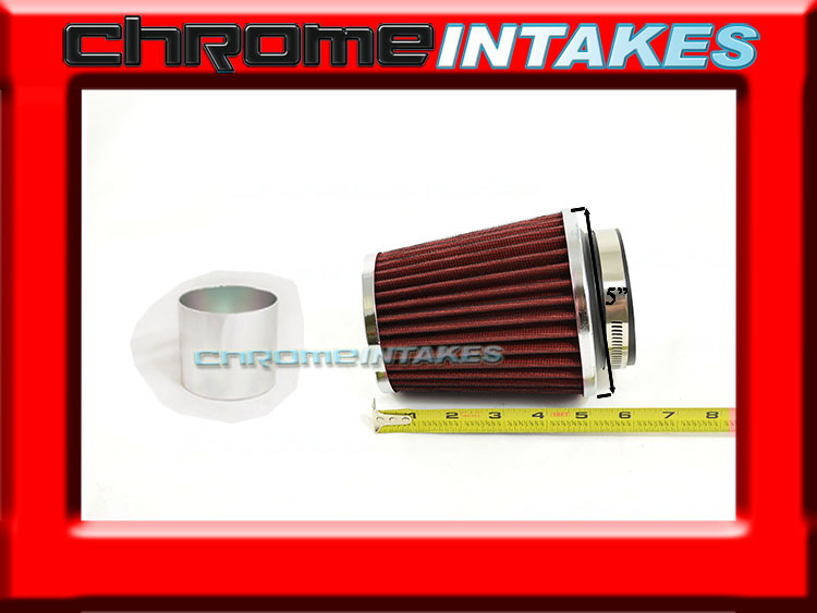 "RED UNIVERSAL 3/"" 76mm CHF AIR FILTER FOR SUZUKI//SAAB SHORT//COLD AIR INTAKE"